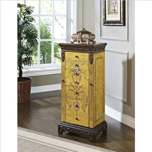 Powell Masterpiece Handpainted Wood Jewelry Armoire Antiqued