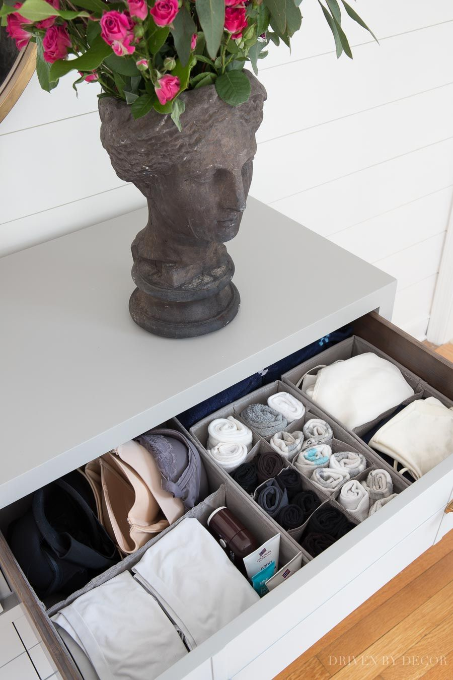 These fabric drawer dividers and organizers (for organizing socks, bras, & more) are awesome! #bedroom #organization #organizing