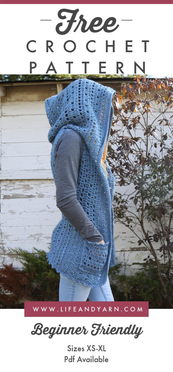 Crochet Hooded Vest - Free Crochet Pattern For Beginners - Life and Yarn