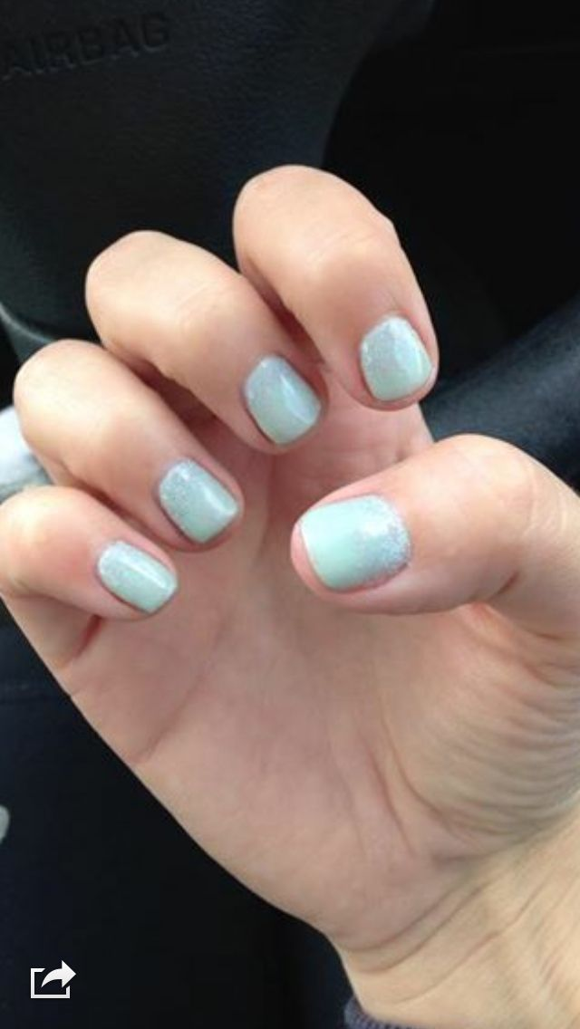 Mint convertible CND with CND Glitter Additives done by me. | Nail ...