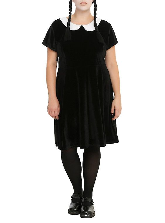Black Velvet White Collar Dress Plus Size Plus Size