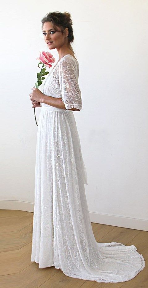 Floral Lace Ivory Sheer Maxi Wedding Dress With Train | Wedding ...