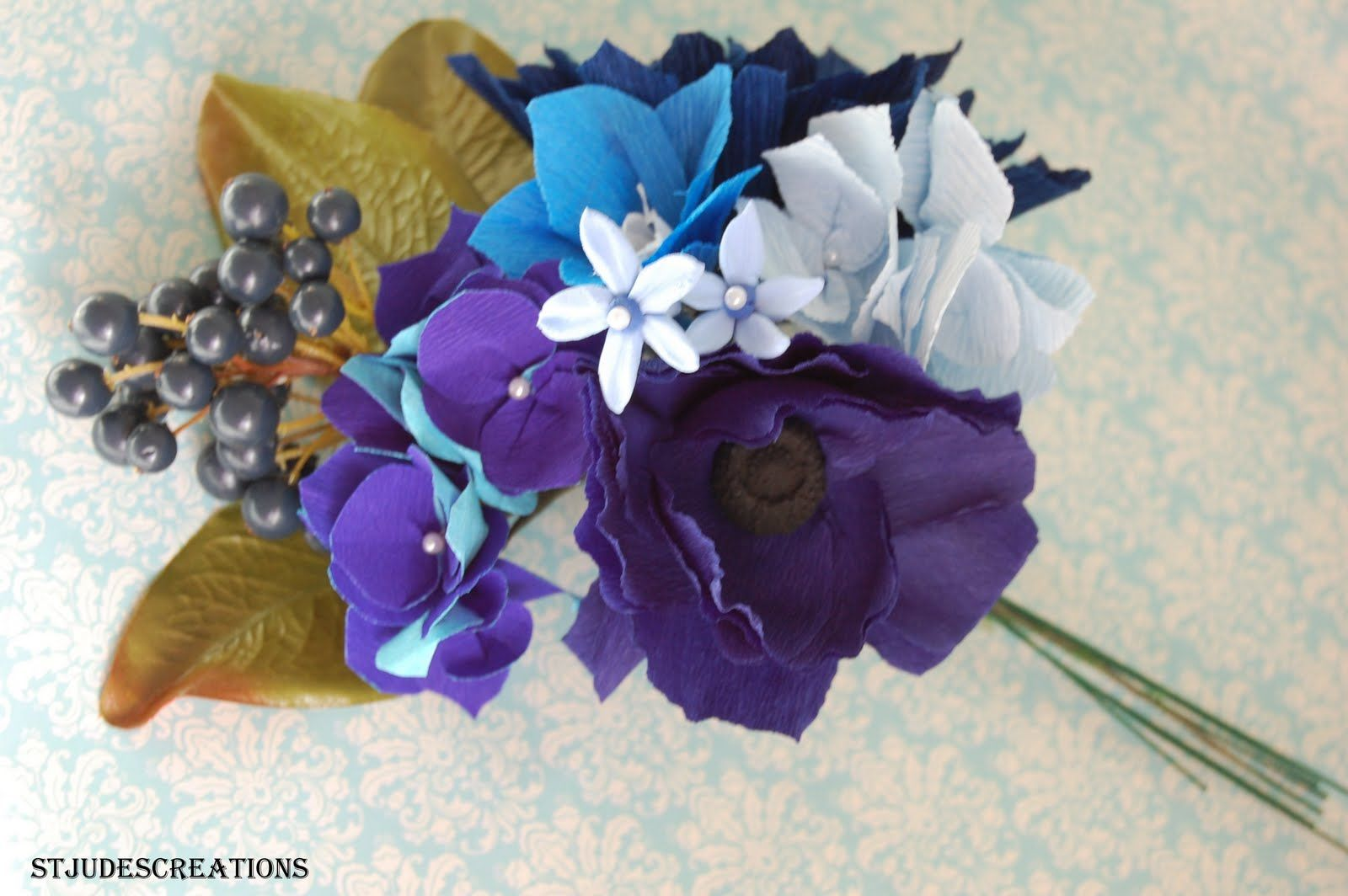 Blue Wedding Bouquet Sampler With Delphinium With Peacock Feather