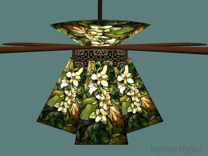 Art Nouveau Deco Ceiling Fan Tiffany Gl Lamp Shades