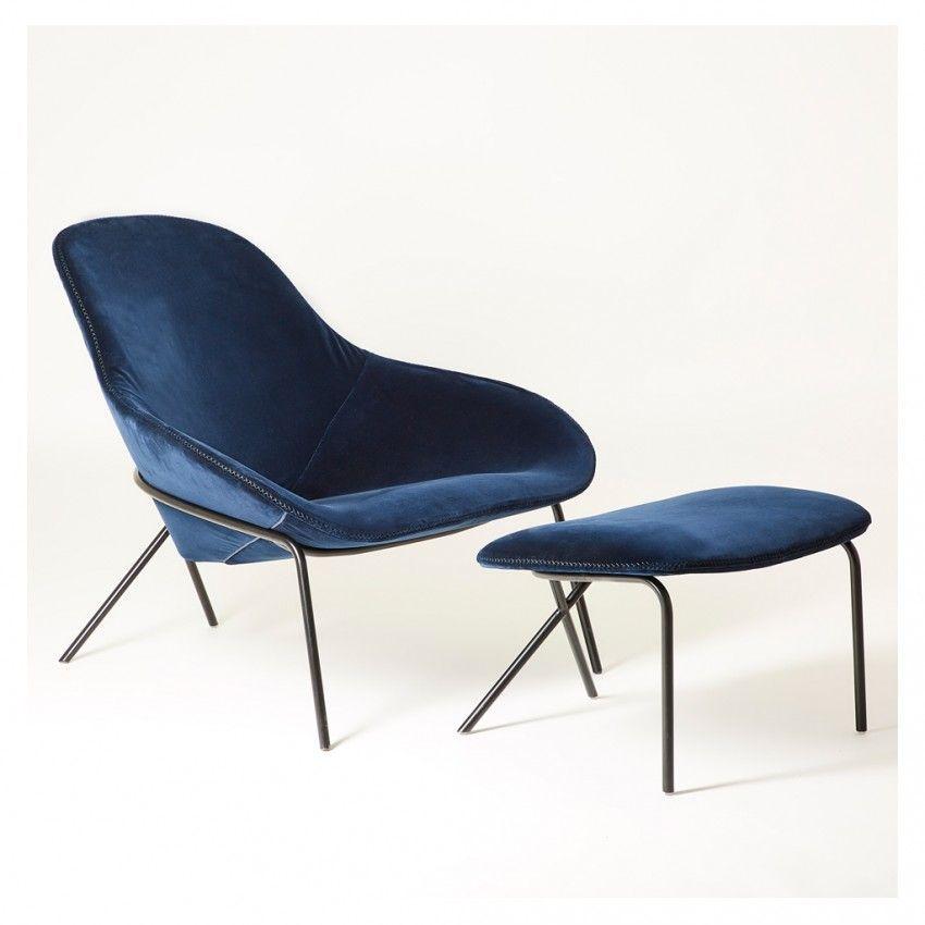 Cross leg lounge chair nobili velvet contemporary lounge