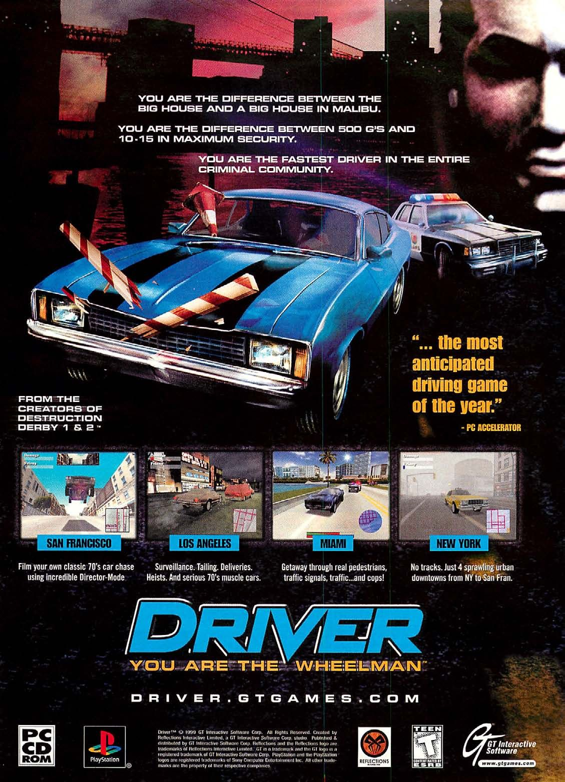 Driver: Playstation PS1 ad | Video game print, Retro games ...