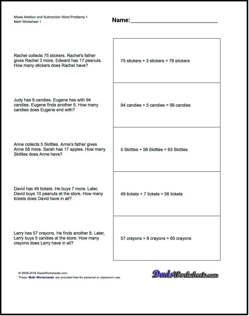worksheet Subtraction Word Problems word problems extra facts addition and subtraction problems