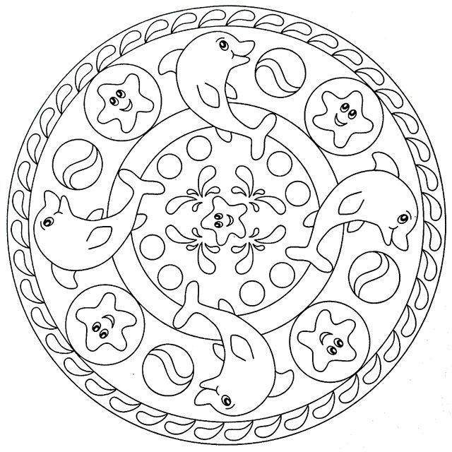Dolphins And Sea Stars Mandala Coloring Pages Printables