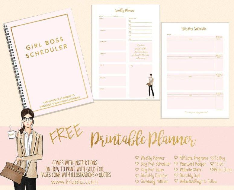 FREE Printable Girl Boss Planner Girl boss, Free