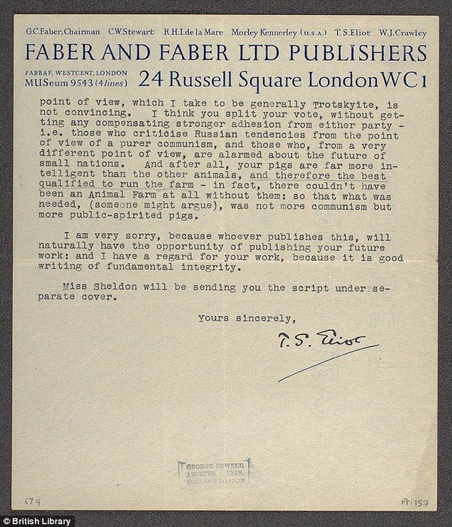 TS Eliotu0027s amazing rejection letter to George Orwell revealed - rejection letter