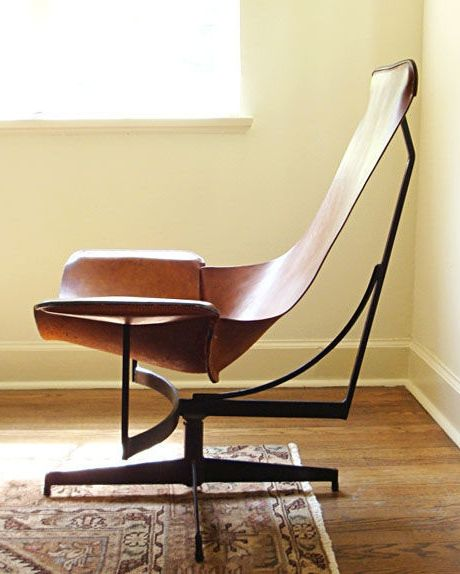 William Katavolos; Enameled Metal and Leather Lounge Chair for Leathercrafter, 1969.