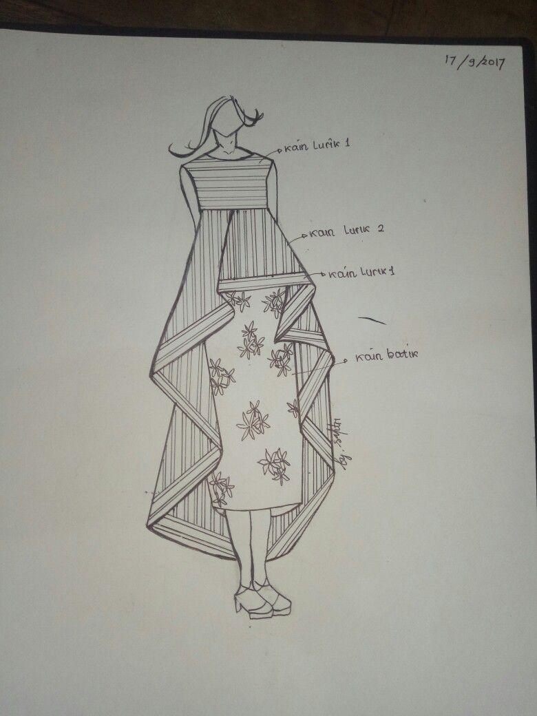Sketsa Tradisional Dress Etnik Tradisional Sketsa Dress Di 2019