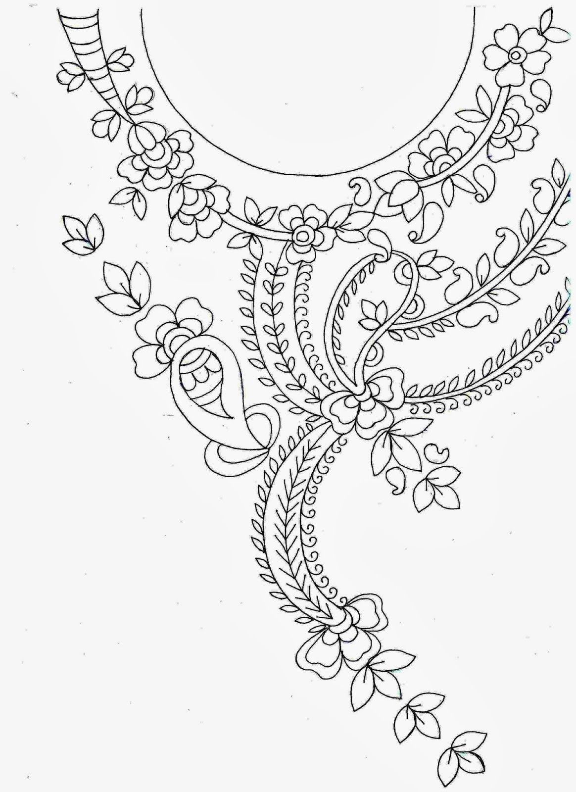 Image result for hand embroidery designs for neck | Embroidery ...