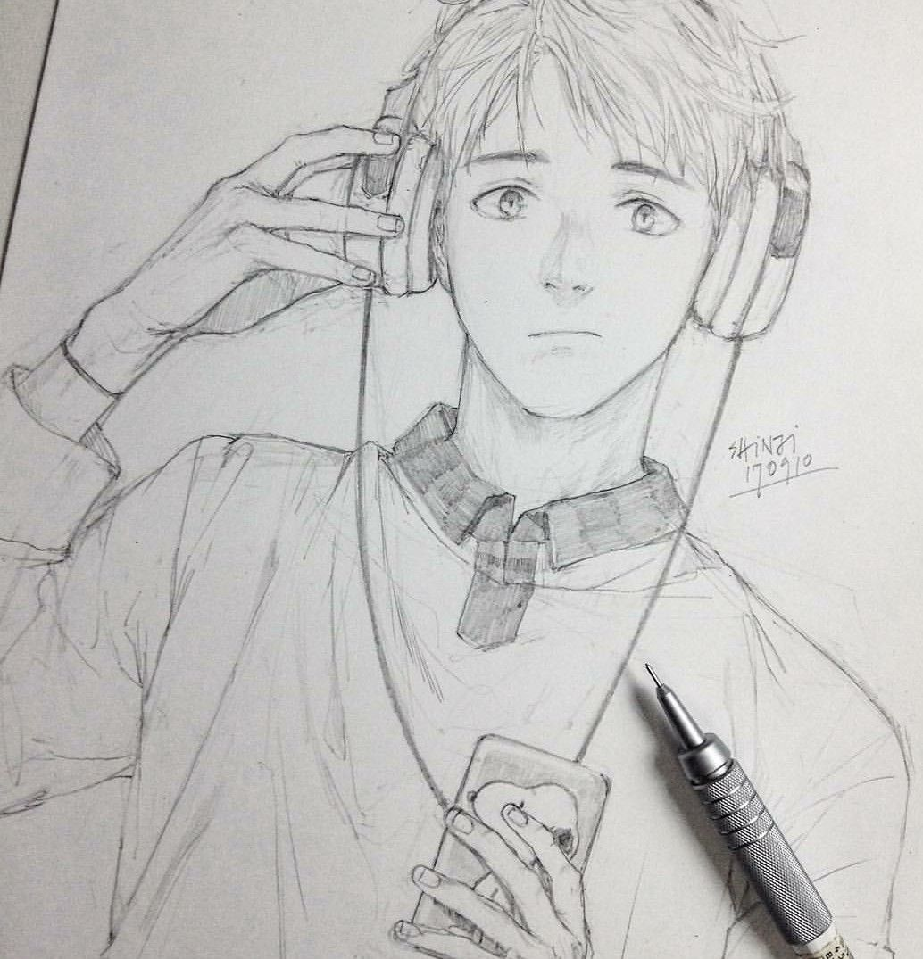 Pin by Ruby on Guys Anime drawings sketches, Sketches