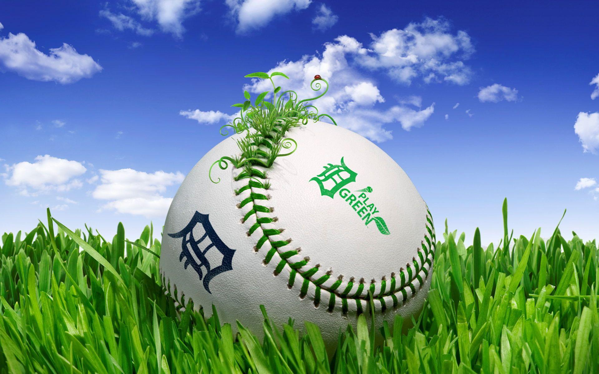 Pelota de béisbol, sobre la grama. Wallpaper. Pelota de