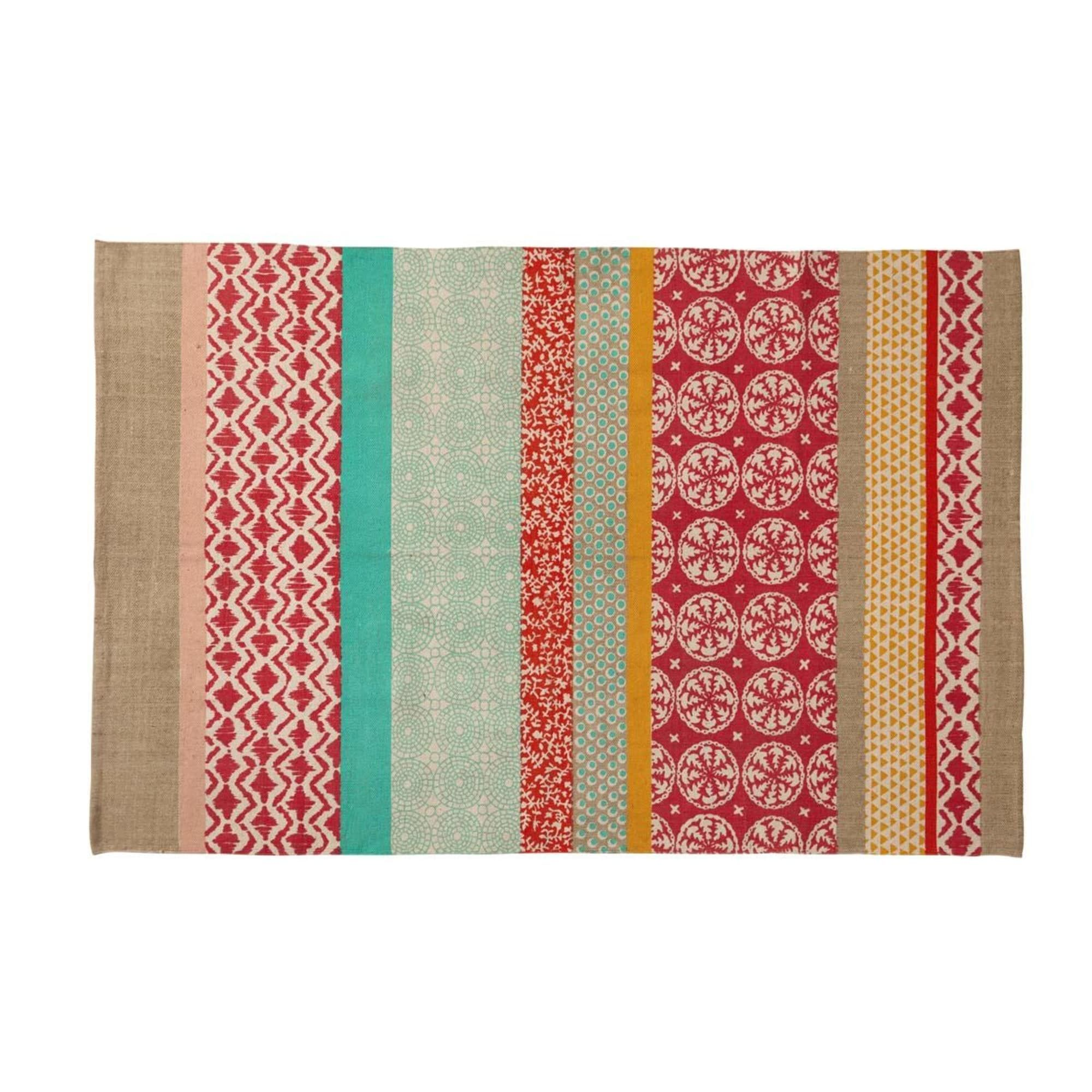 Cotton Rug with Multicoloured Patterns 120x180 Maisons
