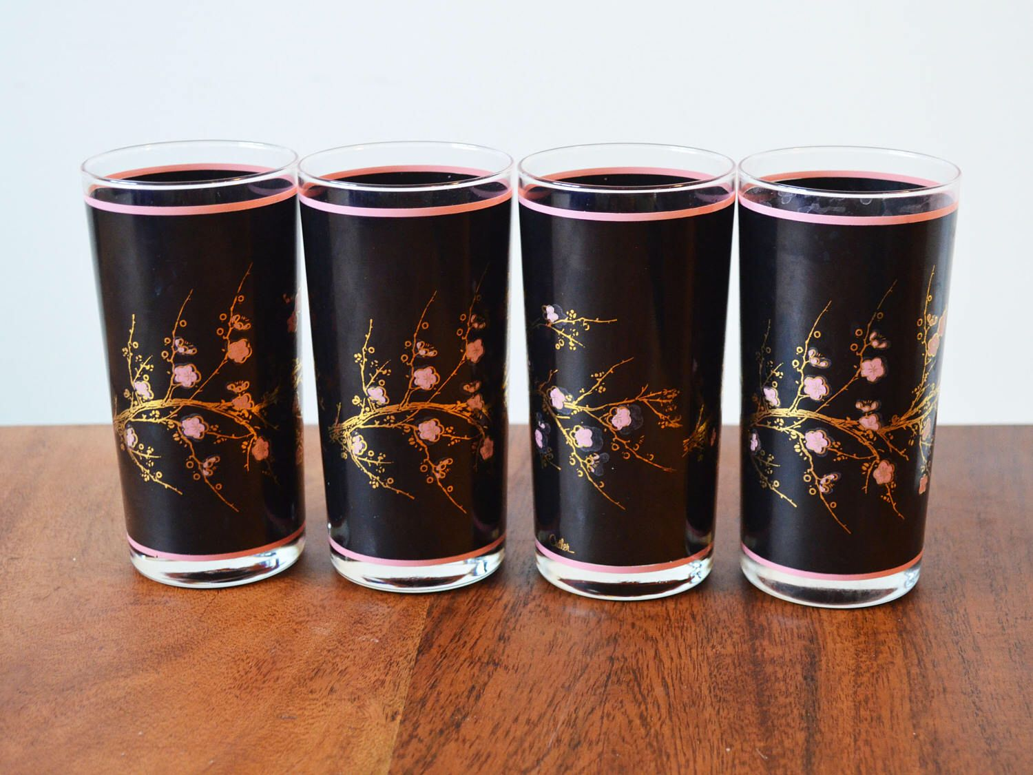 Charming Rare Vintage Cutler Barware 24k Gold And Black Cherry Blossoms Set Of 4  Highballs Circa 1970s Made In Canada, Mid Century Barware