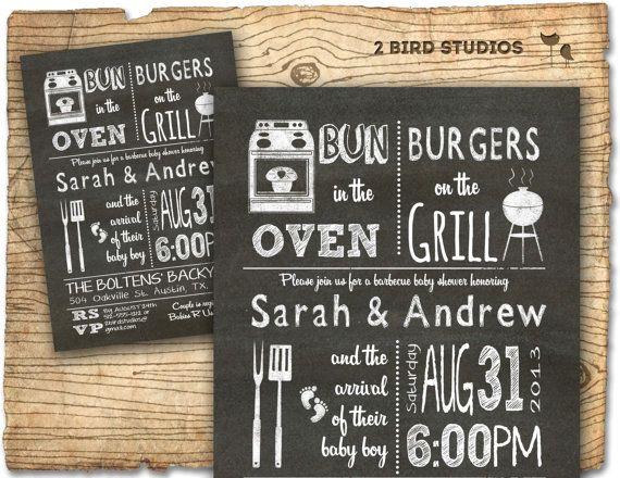 baby shower invitation - boy baby shower bbq barbecue invite- diy, Baby shower invitations