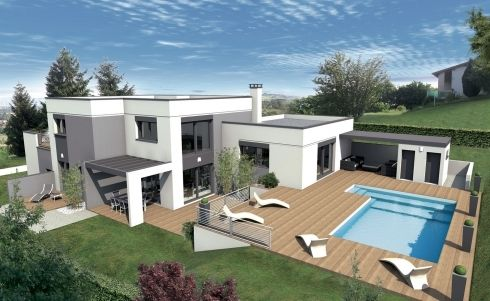 Vues exterieures villa contemporaine villa design contemp toit terrasse maison moderne