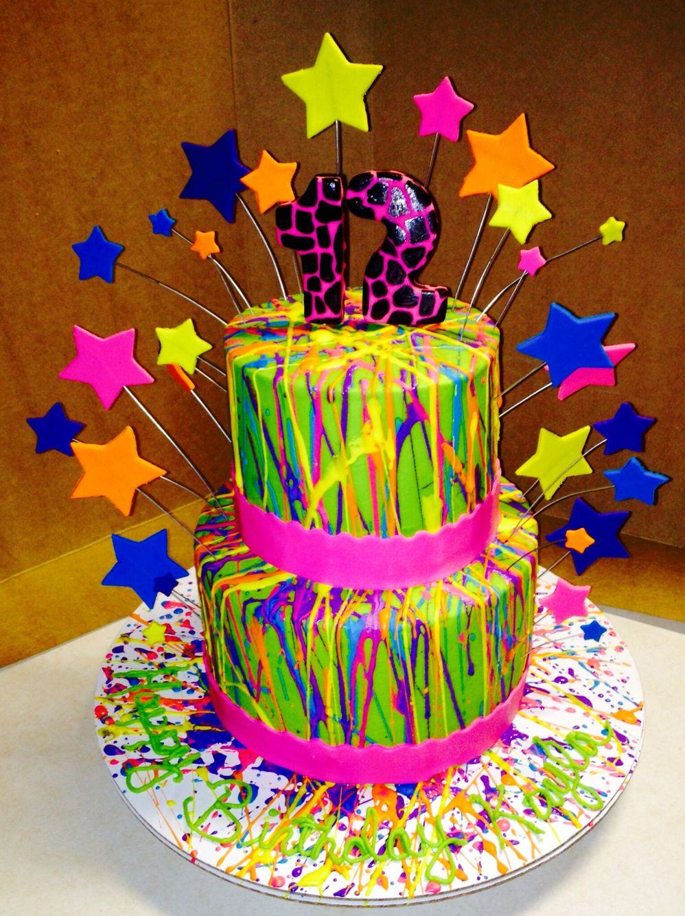 Neon Buttercream Splatter Cake My Creations Pinterest