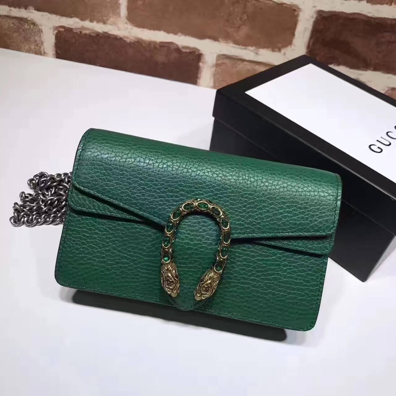 e6b2c7e65be Gucci Dionysus Leather Super Mini Bag 476432 Green 2017