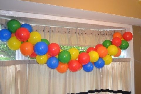 Balloon Backdrop at a Sesame Street Party balloon sesamest Party