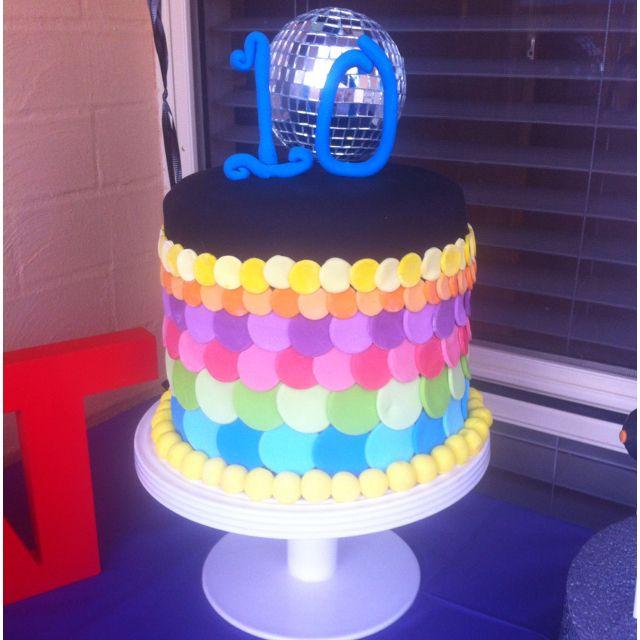 Rainbow Disco Cake With Images Disco Cake Disco Party Kids