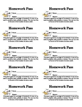 No Homework Pass Template Printable Pdf Http Www Cnusd K12 Ca Us Page 15883 Homework Pass Science Homework Homework
