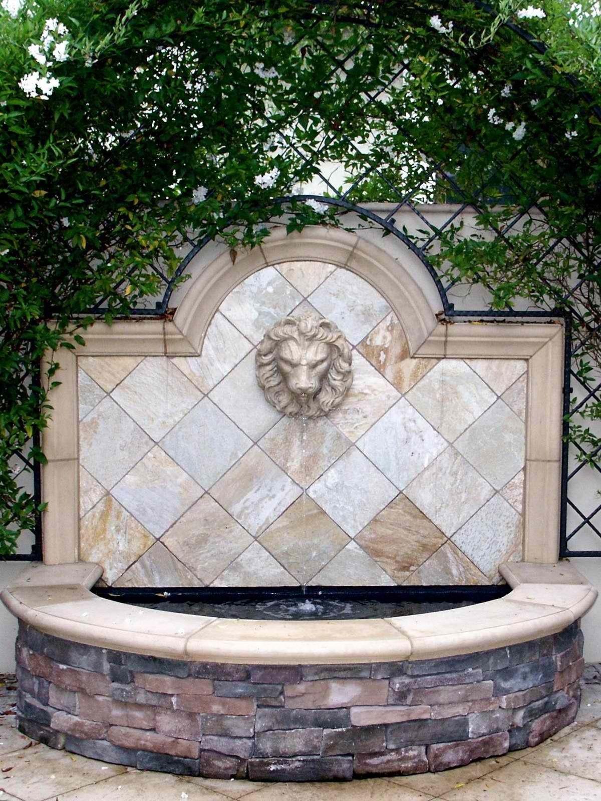 Lion fountain   Backyard water feature, English garden ...