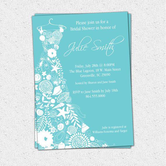 Printable Bridal Shower Invitation Fl Seashell Dress Elegant Sea Shell Pick Your Color Custom Personalized Diy Digital File On Etsy 16 00