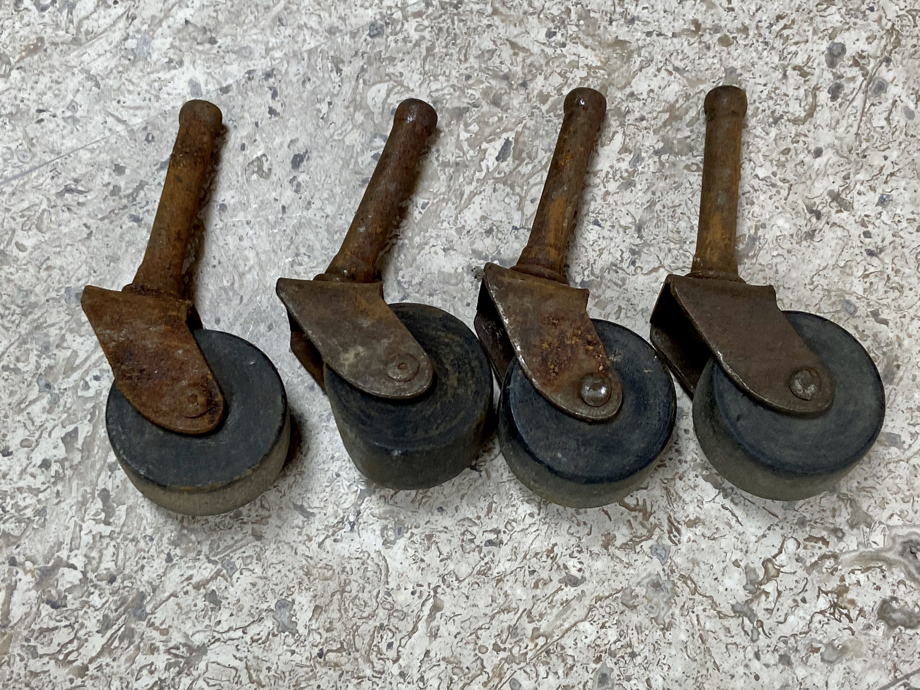 4 Iron And Wood Casters Iron And Wood Wheels Furniture Restoration Supply Antique Industrial Hardware Rustic Assemblage Supplies In 2020 Furniture Restoration Reclaimed Decor Industrial Hardware