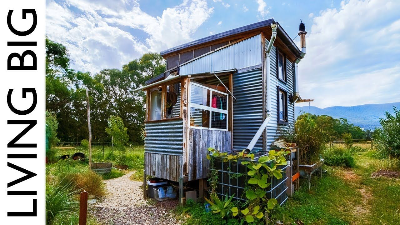 Incredible Salvaged Off Grid Tiny House On A Permaculture Farm Off Grid Tiny House Tiny House Exterior Off The Grid
