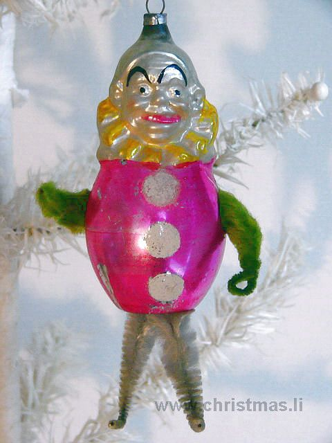 Antique Clown with Chenille Legs Glass  Christmas Ornament