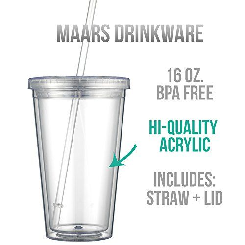 Amazon Com Maars Drinkware Bulk Double Wall Insulated Acrylic Tumblers With Straw And Lid Set Of 12 16 Clear Tumblers Insulated Tumblers Tumblers With Lids