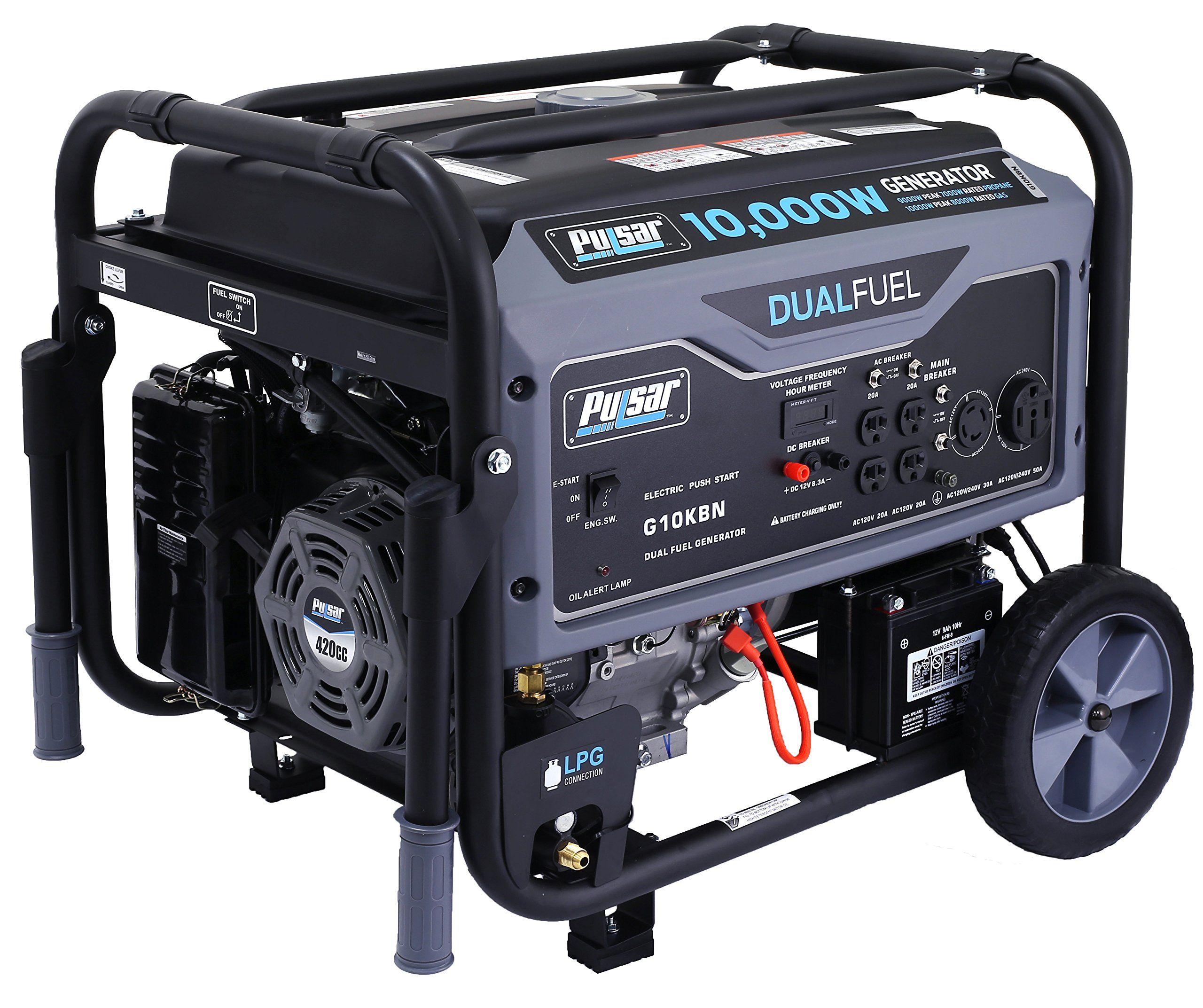 Pulsar 10000W Portable DualFuel Generator with Electric