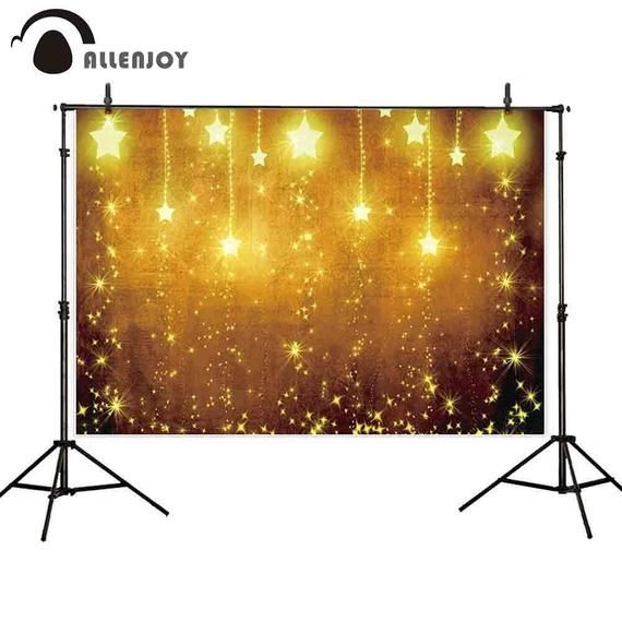 Photo of Custom Personalized backdrop photo shoots stars golden glitter bokeh party shimmer backdground photo