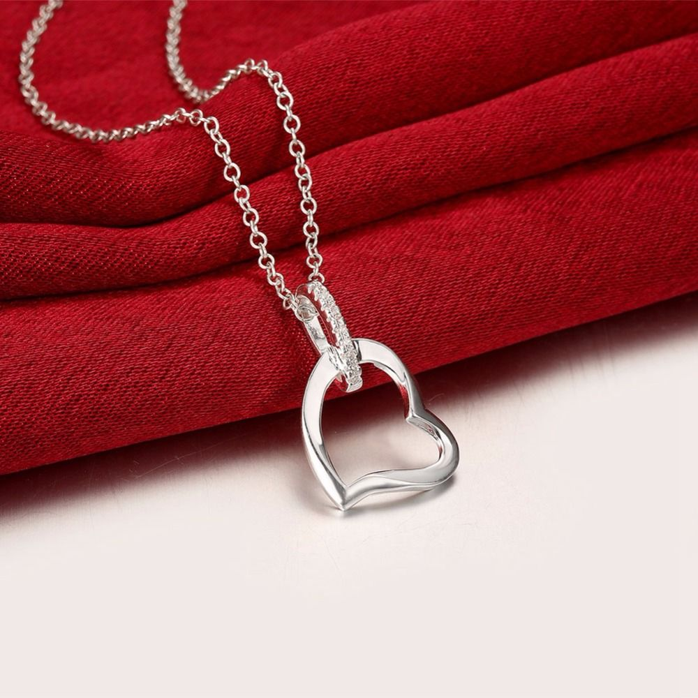 Big heart pendant chains for women girls gifts box free silver big heart pendant chains for women girls gifts box free silver plated wear hot brand new mozeypictures Gallery