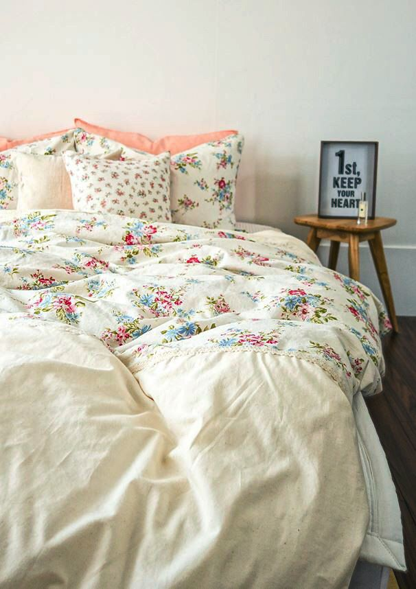 Shabby Chic Floral Duvet Cover Set Linen With