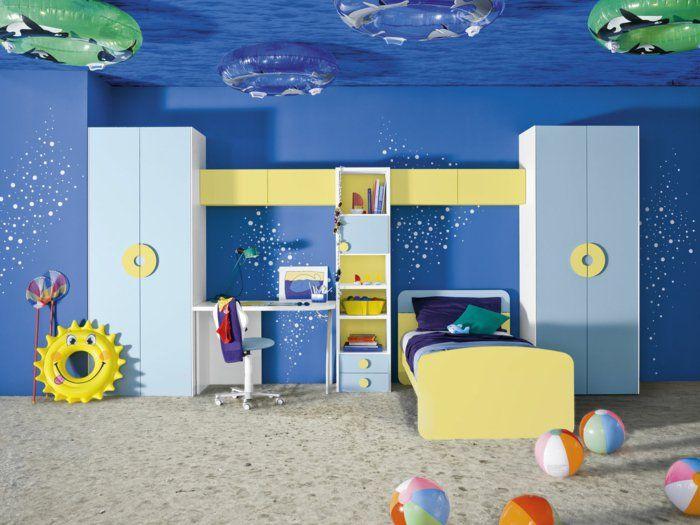 Jungen Kinderzimmer Dekoration Einrichtung Wie Am Strand Meeresküste  Schränke In Gelb Und Blau
