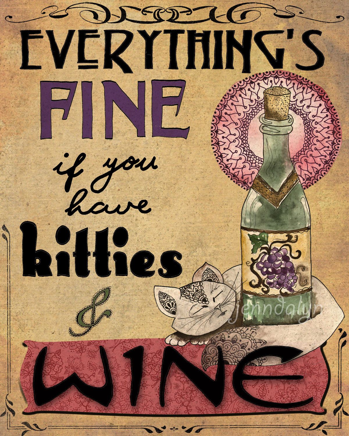 Kitchen art wine - Kitties Wine Cat Lover Gift For Her Kitchen Art Nouveau Poster Tyopgraphy 11 X 14 Print