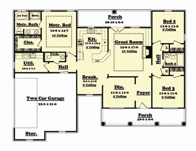 1700 Sq Ft Country House Plans Floor Plans House Plans