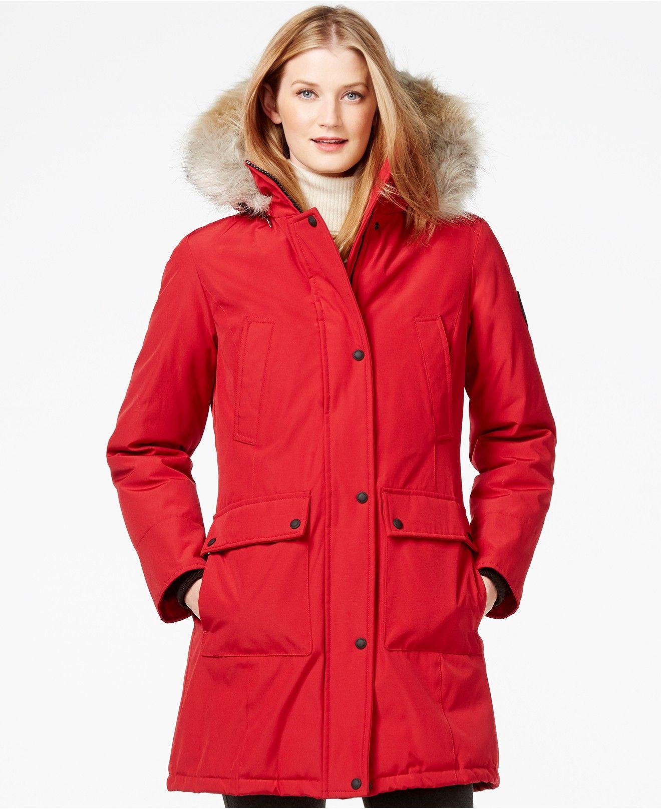 Calvin Klein Faux-Fur-Trim Water-Resistant Parka - Coats - Women ...