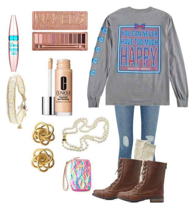 """You can never have too much happy!"" by sweettoothegj ❤ liked on Polyvore featuring Frame Denim, Charlotte Russe, Urban Decay, Maybelline, Clinique, Chan Luu, Lilly Pulitzer, women's clothing, women's fashion and women"