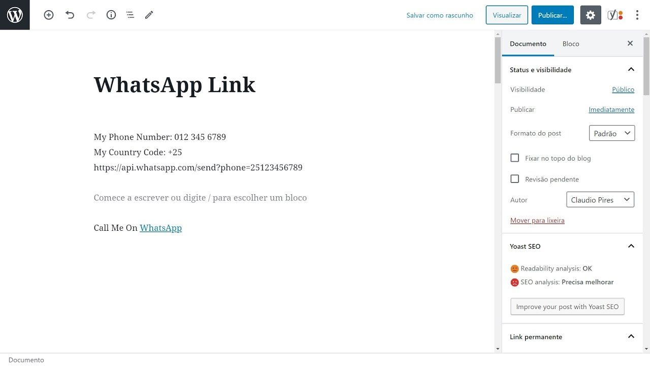 How To Create A Whatsapp Link To Start Chat Em 2020 Autores Blog