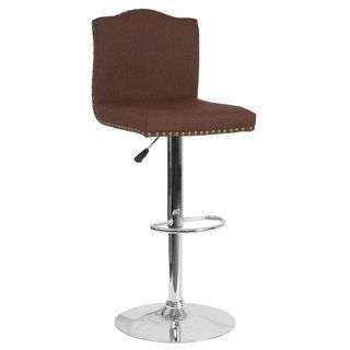 Photo of Bellagio Contemporary Adjustable Height Barstool with Accent Nail Trim – 17.25″W x 17.25″D x 38″ – 46.5″H (Brown Leather), Lancaster Home