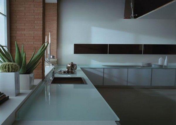 Encimeras de cristal cubiertas de cristal para cocina - Encimeras de cocina de cristal ...
