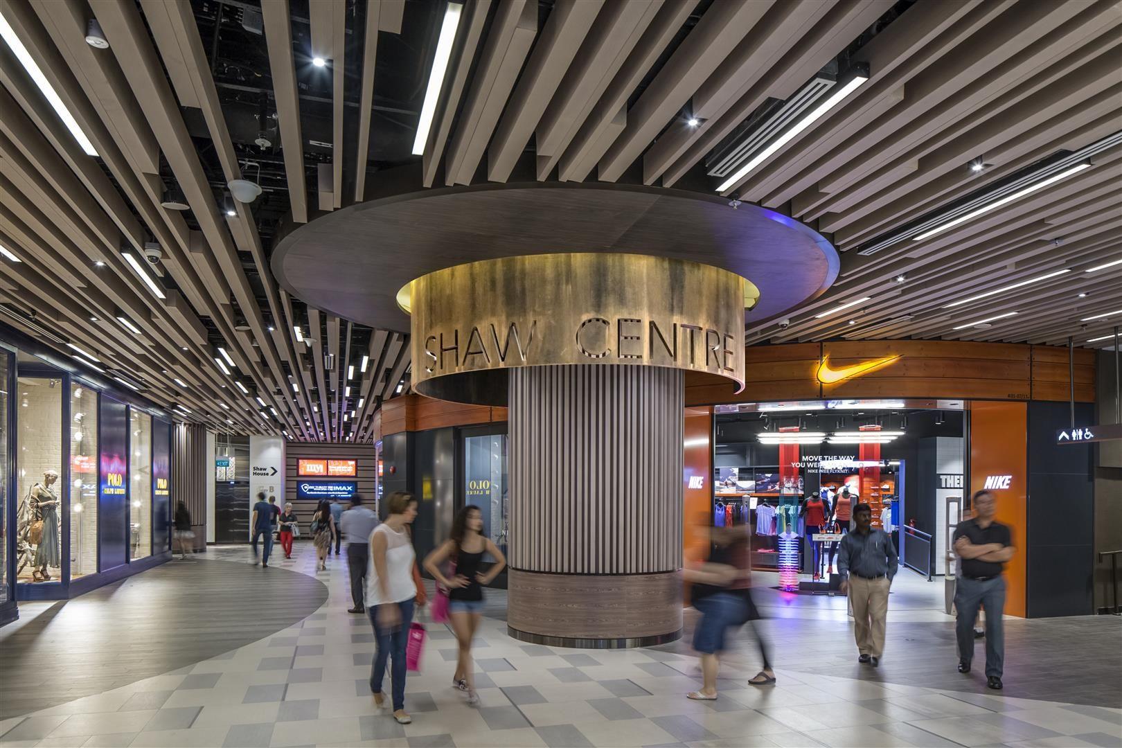 Column Design Signage Ceiling Design Mall Corridor At Shaw Centre Singapore By Dp Design Shopping Mall Design Shopping Mall Interior Mall Design