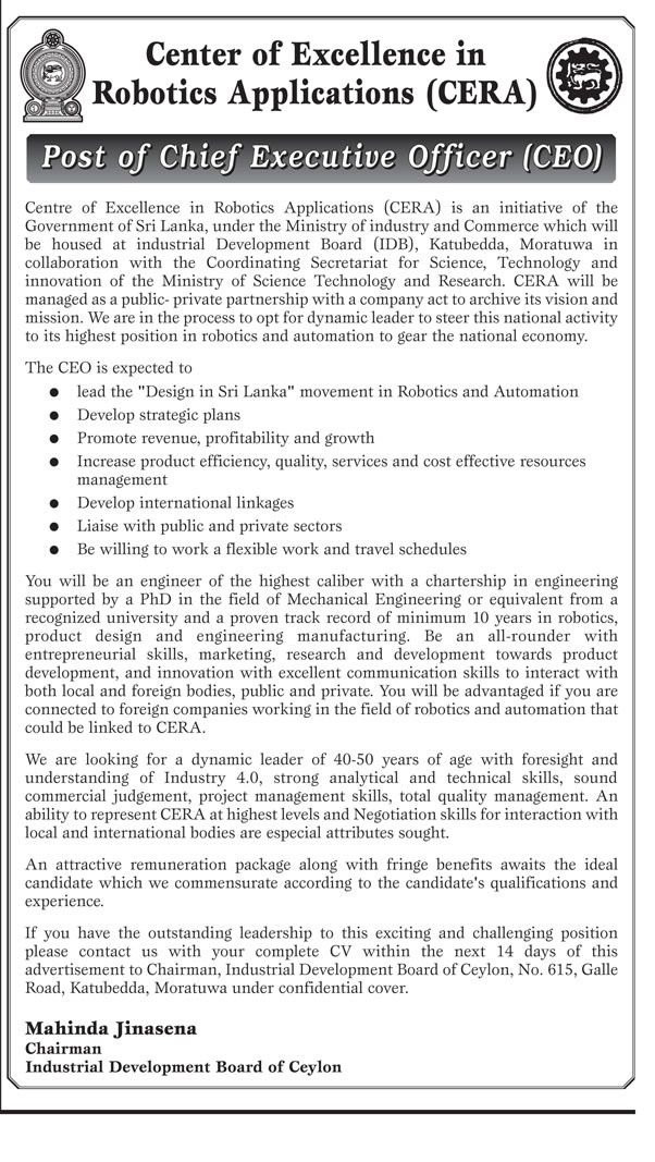 Sri Lankan Government Job Vacancies At Industrial Development Board Of  Ceylon For Chief Executive Officer  Chief Executive Officer Job Description