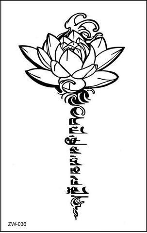 Silom Lotus Sanskrit Script Temporary Tattoo Tattoos Pinterest