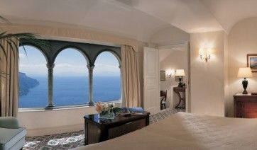 Stunning sea views from one of the rooms at Hotel Caruso. Belmond Hotel Caruso, Amalfi Coast